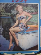 """1954 Calendrier Grand Format: """"une Pin-up """" Sur Un Bateau --série Numéro 2 Vintage Calendrier Ollers--Bouches-du-Rhône - Calendriers"""
