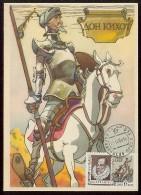 CARTE MAXIMUM CM Card USSR RUSSIA Literature Spain Cervantes Don Quichotte Horse Painting - Maximumkaarten