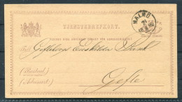 1882 Sweden Malmo 6 Ore Stationery Riksbankens - Gefle