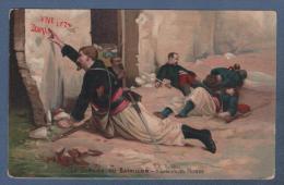 MILITARIA - CP COLORISEE LE DERNIER DU BATAILLON D´APRES JULES MONGE - 2me ZOUAVES - METZ PAGNY BAHNPOST ZUG 1077 - 1906 - Patriotiques