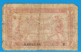 FRANCIA - FRANCE = 1 Franc ND (1917) 1ª Guerra Serie Y - 1917-1919 Trésorerie Aux Armées