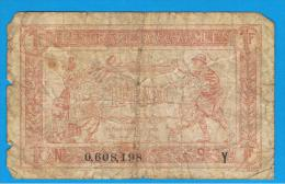 FRANCIA - FRANCE = 1 Franc ND (1917) 1ª Guerra Serie Y - Tesoro