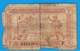 FRANCIA - FRANCE = 1 Franc ND (1917) 1ª Guerra Serie F - Tesoro
