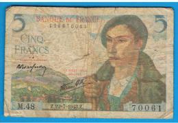 FRANCIA - FRANCE = 5 Francs 1943  P-98  Serie Z - 1871-1952 Antiguos Francos Circulantes En El XX Siglo