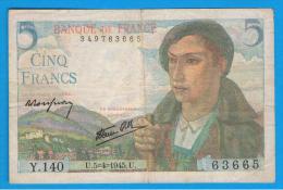 FRANCIA - FRANCE = 5 Francs 1945  P-98 - 1871-1952 Antiguos Francos Circulantes En El XX Siglo