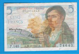 FRANCIA - FRANCE = 5 Francs 1947  P-98 - 1871-1952 Antiguos Francos Circulantes En El XX Siglo