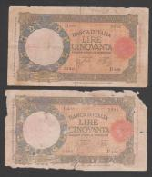 Italy , 50 Lire,1933-40, 2 Different Signature (18), No´54, G. - 50 Lire