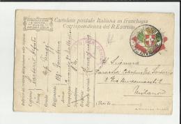 Cartolina Postale Italiana In Franchigia Corrispondenza Del Regio Esercito Censura 119 Zona Guerra Fanteria - Guerre 1914-18