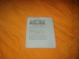 DOCUMENT  ARRETE DU DIRECTOIRE DU DEPARTEMENT DE LA GIRONDE DU 26 SEPTEMBRE 1792 L'AN 1 DE LA REPUBLIQUE  . - Historical Documents