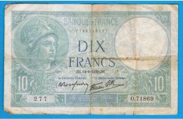 FRANCIA - FRANCE = 10  Francs 1939  P-84  MINERVE Serie 0 - 1871-1952 Antiguos Francos Circulantes En El XX Siglo