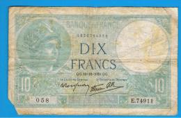 FRANCIA - FRANCE = 10  Francs 1939  P-84  MINERVE Serie E - 1871-1952 Antiguos Francos Circulantes En El XX Siglo