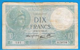 FRANCIA - FRANCE = 10  Francs 1940  P-84  MINERVE Serie 0 - 1871-1952 Antiguos Francos Circulantes En El XX Siglo