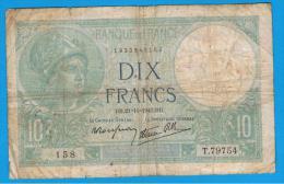 FRANCIA - FRANCE = 10  Francs 1940  P-84  MINERVE Serie T - 1871-1952 Antiguos Francos Circulantes En El XX Siglo