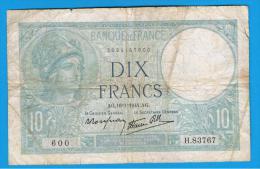 FRANCIA - FRANCE = 10  Francs 1941  P-84  MINERVE Serie H - 1871-1952 Antiguos Francos Circulantes En El XX Siglo