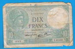 FRANCIA - FRANCE = 10  Francs 1941  P-84  MINERVE Serie Y - 1871-1952 Antiguos Francos Circulantes En El XX Siglo