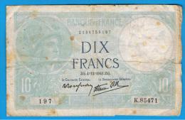 FRANCIA - FRANCE = 10  Francs 1941  P-84  MINERVE Serie K - 1871-1952 Antiguos Francos Circulantes En El XX Siglo