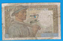 FRANCIA - FRANCE = 10  Francs 1943  P-99 MINERO  Serie E - 1871-1952 Circulated During XXth