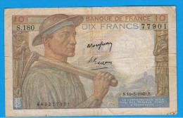 FRANCIA - FRANCE = 10  Francs 1949  P-99 MINERO  Serie S - 1871-1952 Circulated During XXth