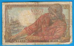 FRANCIA - FRANCE = 20  Francs 1948  P-100  PECHEUR / Pescador - Serie W - 1871-1952 Anciens Francs Circulés Au XXème