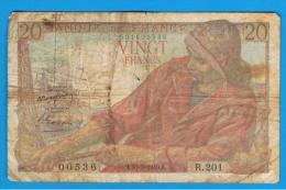 FRANCIA - FRANCE = 20  Francs 1949  P-100  PECHEUR / Pescador - Serie R - 1871-1952 Anciens Francs Circulés Au XXème