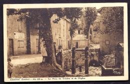 CPA ANCIENNE- FRANCE- CHANAC (48)- LA PLACE DU TRIADOU ET L'EGLISE- ANIMATION- FONTAINE- - Chanac