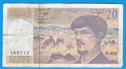 FRANCIA - FRANCE = 20  Francs 1991  P-151  Claude Debussy - 1962-1997 ''Francs''