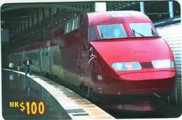 """**Télécarte Prépayée à Code De CHINE """"Trains""""  Neuve Et LUXE Hk$100 Utilisée  Qualité TTB  **** N° Lot:9005212 - Hong Kong"""
