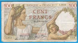 FRANCIA - FRANCE = 100 Francs 1939  P-84  Serie X - 1871-1952 Antiguos Francos Circulantes En El XX Siglo