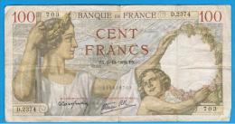 FRANCIA - FRANCE = 100 Francs 1939  P-94  Serie D - 1871-1952 Antiguos Francos Circulantes En El XX Siglo