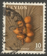 Ceylon. 1954 King Coconuts. 10c Used. SG 435 - Sri Lanka (Ceylon) (1948-...)