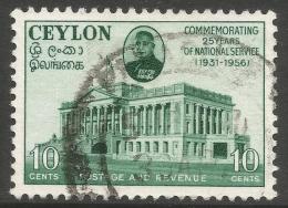 Ceylon. 1956 Prime Minister´s 25 Years Of Public Service. 10c Used. SG 437 - Sri Lanka (Ceylon) (1948-...)