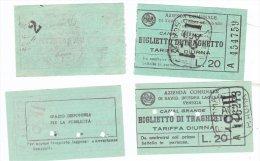 VENEZIA Due Biglietti Della ACNIL Zattere Giudecca Lire 20  Con Diverso Retro Presumibilmente Anni 60 - Carte D'imbarco Di Navi