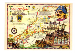 Royaume Uni: One And All Cornwall, The Country Of Hidden Treasure, Carte Geographique (13-2043) - Other