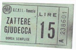 Venezia Biglietto Ticket Traghetto ACNIL Anni 60 - Carte D'imbarco Di Navi