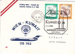 First Flight: 1984 Wien - Kuwait Austrian Airlines (C87) - Airplanes