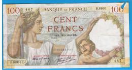 FRANCIA - FRANCE = 100 Francs 1940  P-94  Serie B - 1871-1952 Antiguos Francos Circulantes En El XX Siglo