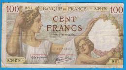 FRANCIA - FRANCE = 100 Francs 1941  P-94  Serie S - 1871-1952 Antiguos Francos Circulantes En El XX Siglo