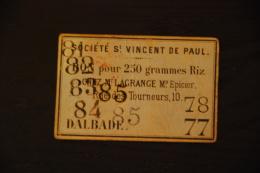 Bon De St Vincent De Paul - Dalbade Toulouse - Riz - Historical Documents