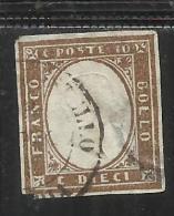 ANTICHI STATI: 1861 SARDEGNA 10 CENTESIMI BRUNO CIOCCOLATO CHIARO ANNULLATO USED - Sardegna