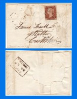 GB 1841-0012, QV 1d Red-Brown SG8 S-B Letters Plate 25 (Spec BS14e) On Entire, Black MC Thurso Cancel (3 Scans) - 1840-1901 (Victoria)