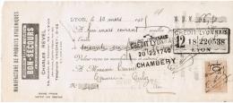 1925 MANUFACTURE DE PRODUITS HYGIENIQUES ARQUEBUSE ELIXIR BON-SECOURS CHARLES REVEL 83 ROUTE DE VIENNE LYON - Lettres De Change