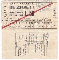 Venezia Biglietto Ticket Vaporetto ACNIL Con Mappa Canal Grande Anni 60 - Carte D'imbarco Di Navi