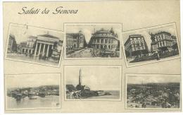 CARTOLINA -  GENOVA - 6 SEI VISTE PANORAMICHE - VIAGGIATA NEL 1916 - Genova (Genoa)