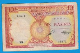 FRENCH  INDO CHINA -  10 Piastres / 10 Dong ND (1953)  P-107  Serie X9 - Indochina