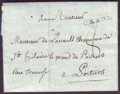 Mayenne - LAC - CRAON (25mm) L1 (1788) + Taxe 8 Pour Poitiers (80) - 1701-1800: Voorlopers XVIII