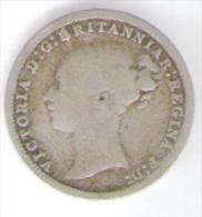 GREAT BRITAIN / GRAN BRETAGNA - QUEEN VICTORIA - 3 PENCE ( 1870 ) AG / SILVER - 1816-1901 : Coniature XIX° S.