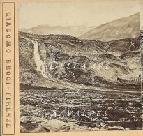 Route Mont Cenis - MONCENISIO La Cascata D'aqua Vers 1870/80 - Photo Stéréoscopique G Brogi - 3 Scans - Stereoscopio