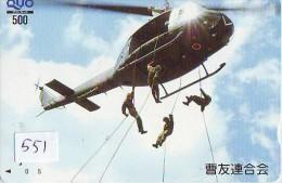 Télécarte Japon Hélicoptère * Telefonkarte Japan * Hubschrauber (551) CHOPPER * HELICÓPTERO * HELICOPTER * TANK * ARMY - Airplanes