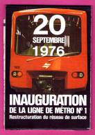 Plan - Inauguration De La Ligne De Métro N°1 - 20 Septembre 1976 - Restructuration Du Réseau De Surface - Belgique - Europe