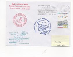 """M/S """" ASTROLABE """" 1er Voyage En Terre Adélie Flamme Mécanique LE HAVRE¨PORT 29/04/1989 - Postmark Collection (Covers)"""